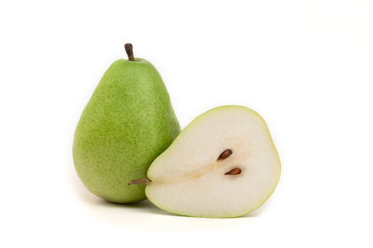 Green pear and half on isolated white background