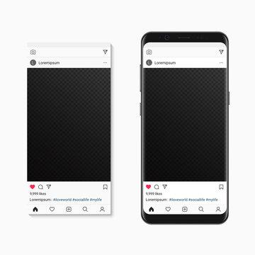Social network pictire post on smartphone screen. Vector Mockup social photo frame composer.