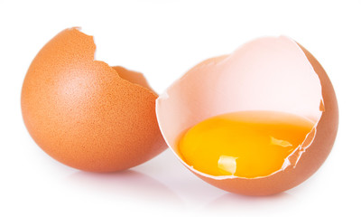 Raw egg on white background