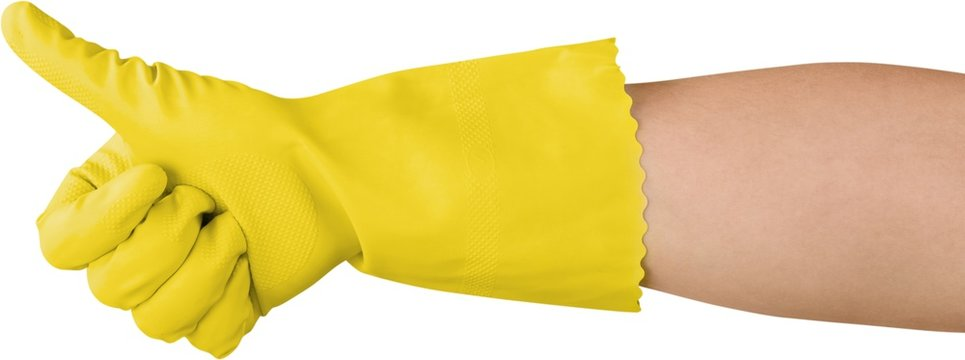 Hand in a yellow glove showing thumb up isolated on white