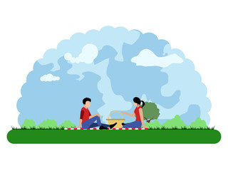 Landscape of a park with people talking