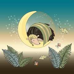 Autumn Color Vector Illustration Set MOON HEDGEHOG for Scrapbooking and Digital Print on Card and Photo Children's Albums