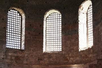 ISTANBUL, TURKEY - AUGUST 09, 2018: Windows of Hagia Irene church, view from inside