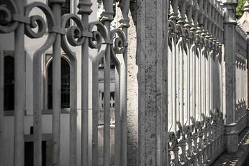 Beautiful view of ornate grey fence, closeup