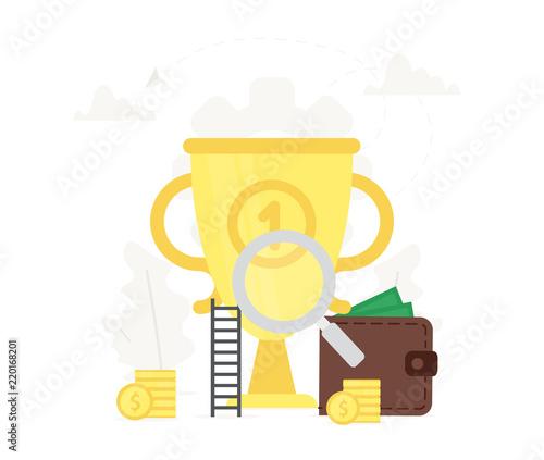 Business Illustration Big Gold Trophy Presentations On White Background Wallet Coins