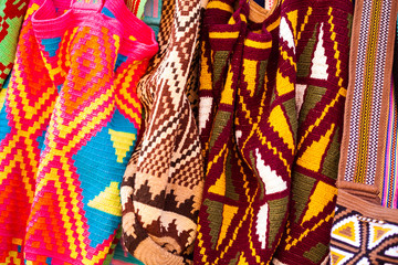 Traditional bags hand knitted by women of the Wayuu community