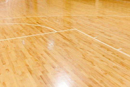 Wooden Floor of Basketball Court