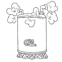 Boiling Steam Boiler cartoon illustration isolated image coloring page