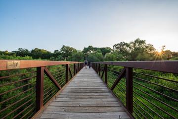Girl walking her dog acrossed a bridge