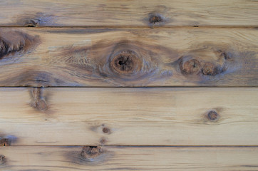 Natural wood cedar siding with knots, texture and design. Beautiful rustic indoor or outdoor background. Unpainted natural colored cedar wood panels.