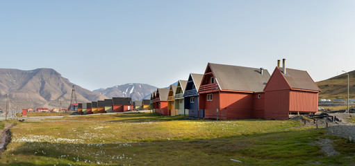 Colorful wooden houses along the road in summer at Longyearbyen, Svalbard.