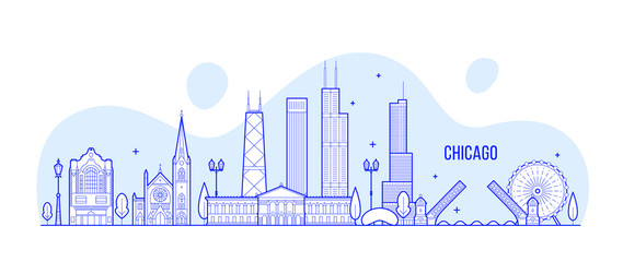 Wall Mural - Chicago skyline, USA vector city buildings linear