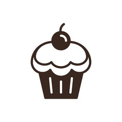 Cherry cupcake linear style icon. Dessert and sweets outline web pictogram. Pastry shop logo isolated on white background. Cafe and restaurant menu design element. Bakery product vector illustration.