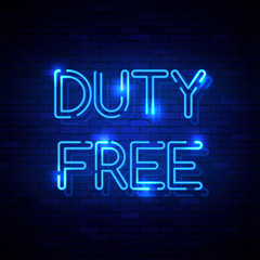 Duty Free neon sign on the brick wall. Vector Illustration
