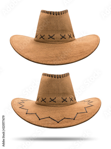 c245cd349c8 Cowboy hat isolated on white background. Vintage hat made from leather  material. ( Clipping path )