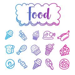 gradient color food doodle illustration on white background