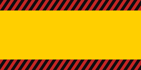 horizontal warning banner frame, red yellow black, diagonal stripes, hazard backdrop wallpaper danger vector