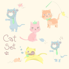 Happy little cat and rat set in pastel color background.Cute character design. Cartoon vector illustration.