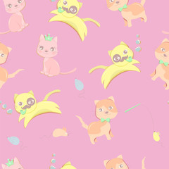 Seamless pattern of happy little cat in different acting in pink color background.Cute character design. Cartoon vector illustration.Using as background or wallpaper
