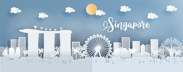 Fototapete - Panorama postcard of world famous landmarks of Singapore in paper cut style vector illustration