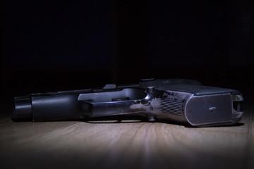 Handgun isolated on black. Firearms