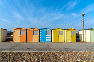 Colorful beach huts seen in Seaford, England
