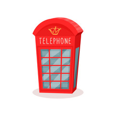 Flat vector icon of red telephone booth. Famous symbol of England. Travel to London. Public call box