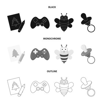 Picture, dzhostik, bee, nipple.Toys set collection icons in black,monochrome,outline style vector symbol stock illustration web.
