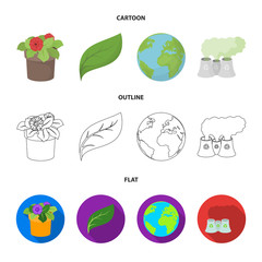 A processing plant, flowers in a pot, a green leaf, a planet Earth.Bio and ecology set collection icons in cartoon,outline,flat style vector symbol stock illustration web.