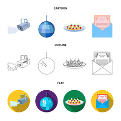 A video camera with smoke, a twirling holiday ball, a plate of sandwiches, an envelope with a greeting card. Event services set collection icons in cartoon,outline,flat style vector symbol stock
