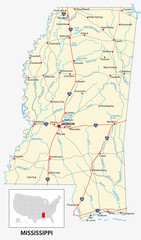 road map of the US American State of mississippi
