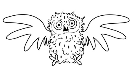 Black and white cute frightned cartoon bird character for coloring book, animation, comic book; hand drawing animal illustration.