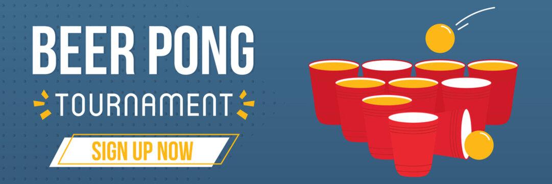 Beer pong game tournament, online registration template, wide horizontal banner, vector illustration for web and print.