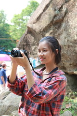 woman traveling to Hon Trong  Mai in Vietnam