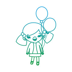 degraded line beauty girl child with hairstyle and balloons