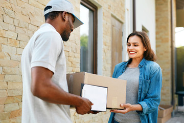 Express Delivery. Courier Delivering Package