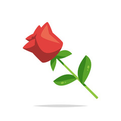 Red rose vector isolated illustration