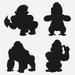 Set of Gorilla silhouettes cartoon with different poses and expressions