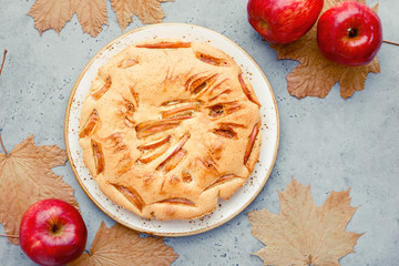 Tasty homemade season apple pie surrounded by red apples and maple dead leaves. Autumn bakery, cosy holidays.