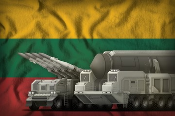 Lithuania rocket troops concept on the national flag background. 3d Illustration