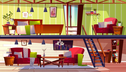 Loft lounge or two storey room interior vector illustration of bedroom and cabinet. Modern cozy spacious apartments with furniture, armchair or blanket on bed, carpet and tv or and computer