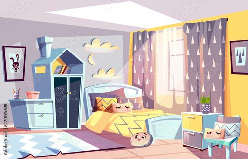 Kids Room Modern Interior Vector Illustration Of Bedroom Furniture