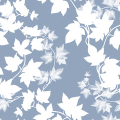 Floral seamless pattern with ivy branch in hand drawn sketch style on grey background