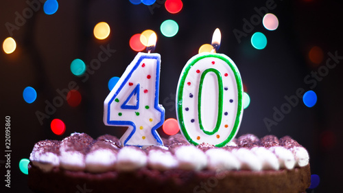 Candles On The Cake Happy Birthday Number 40
