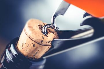 red wine bottle and corkscrew - fine wine tasting concept