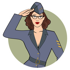 Army girl in retro comic style wearing glasses and soldiers uniform from the 40s or 50s doing military salute