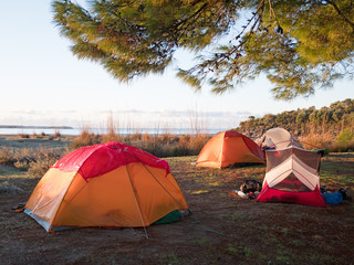 camping with tents near the sea