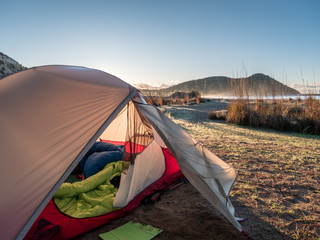 camping with tent near the sea