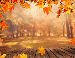 Wooden table with orange leaves autumn background