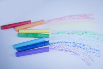 ulticolored crayons for drawing.isolated on a white background